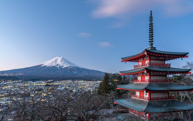 landscape of Chureito Pagoda with Mount Fuji in winter.