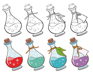 Vector Illustration of magic small bottles for you Design and Computer Game. Coloring Book Outline Set