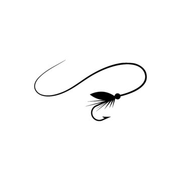 Fishing hook with feather icon. Graphic fly fishing icon or logo