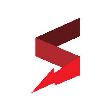 red color letter s lightning electric energy logo design