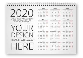 Wall Spiral Calendar Mockup