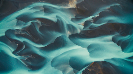 Aerial drone view of a huge riverbed and delta, glacial river system transporting deposits from the Vatnajokull glacier,Iceland