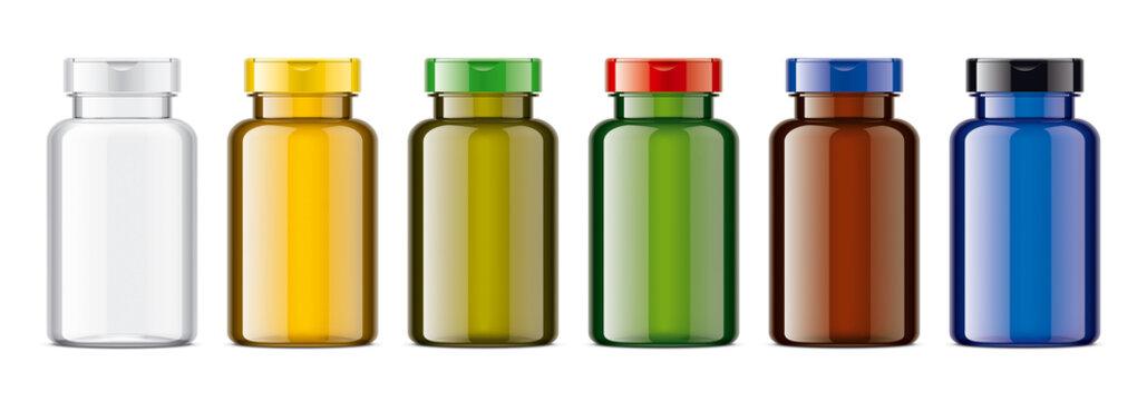 Set of Colored Bottles. Glossy transparent version.