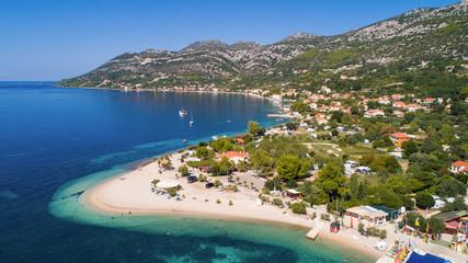 Aerial view of beach in Viganj, Peljesac peninsula, Croatia.