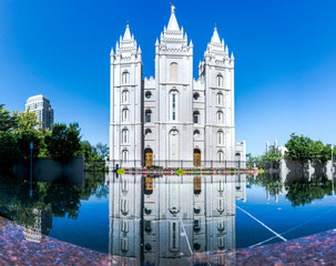 Poster Bedehuis panorama of salt lake temple LDS mormon temple mirrored