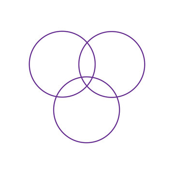 Overlapping sets in math., overlapping circles, 3 intersecting circles. Vector.