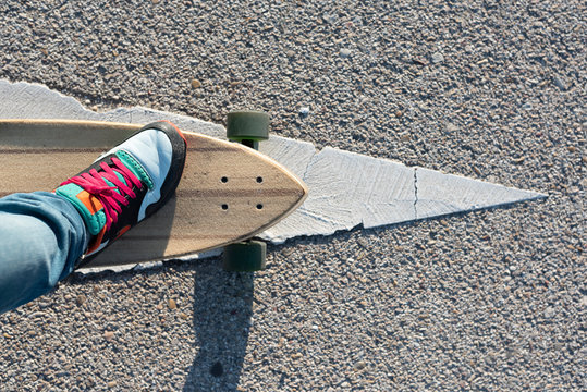 Longboard shot from the riders perspective