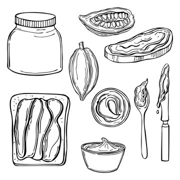 Chocolate paste set. Vector sketch illustration