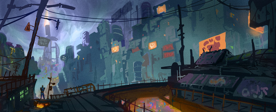 Digital concept art style painting of a whimsical sci-fi environment - digital fantasy landscape illustration
