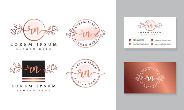 Initial rn feminine logo collections template premium vector