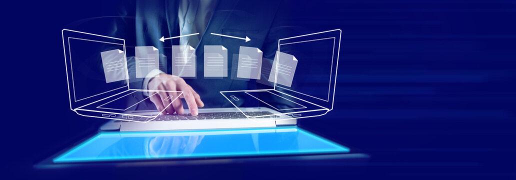 man hand  otebooks file transfer in screen