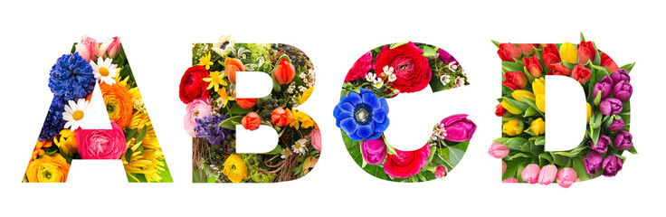 Spoed Fotobehang Bloemen Floral lettering Alphabet A B C D flower heads bouquet