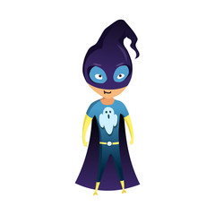Kid Dressed as Superhero. Cute superhero kid in colorful costume. Funny Flat Isolated kid wearing superhero costume. Movie character