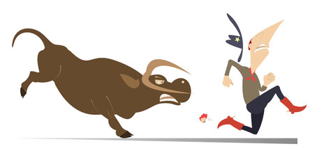 Keuken foto achterwand Stierenvechten Farmer or cowboy and angry bull illustration. Frightened farmer or cowboy runs away from the angry bull isolated on white