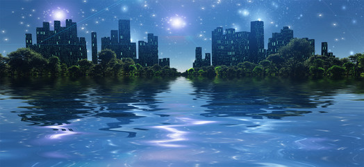 Surreal digital art. City surrounded by green trees in water world. Bright stars in the sky