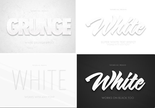 White 3D Text Effect Mockup Bundle