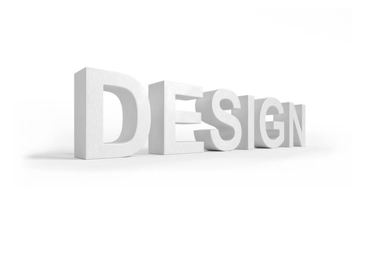 Design 3D rendering white letters in perspective texture