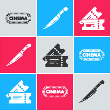 Set Cinema poster design template , Knife and Cinema ticket icon. Vector