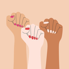 Drawing of three fists with colorful nails. Women's hands as symbol of power and protest. Simple flat art. Design element for 8 March. Flat vector illustration