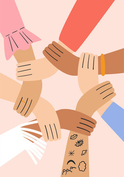 Flat vector simple illustration of a women's hands. Group of women holding each other's hands. Design element for 8 March cards, posters, banners.