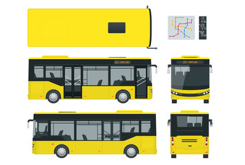Passenger City Bus for branding identity and advertising design on transport. Blank City Bus side view, front, rear and from above. Blank City Bus template isolated on white background.