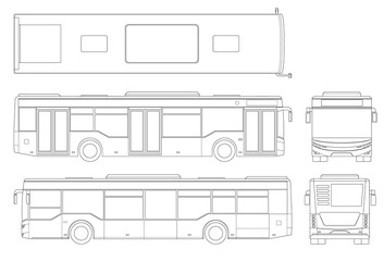 Passenger outline City Bus for branding identity and advertising design on transport. Blank City Bus side view, front, rear and from above. Blank City Bus template isolated on white background.