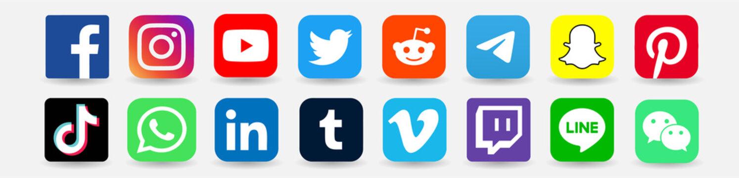 Facebook, twitter, instagram, youtube, reddit,telegram,snapchat, pinterest, tiktok logo.Facebook, twitter, instagram, youtube, reddit,telegram,snapchat, pinterest, tiktok vector.Facebook, twitter icon