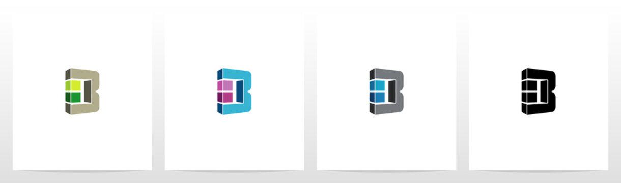 Rectangle Block On Letter Logo Design B