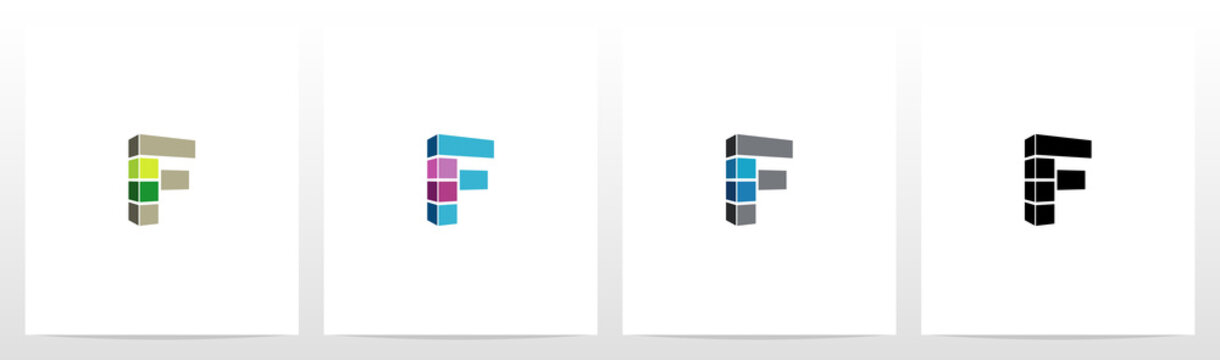 Rectangle Block On Letter Logo Design F