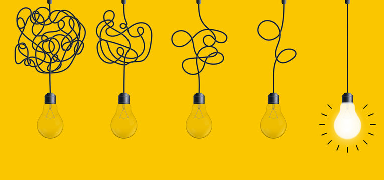 Creative vector illustration of simplifying complex process lightbulb on background. Art design untangled of problem, confusion clarity, path vector idea concept. Abstract straight, curve streamlining