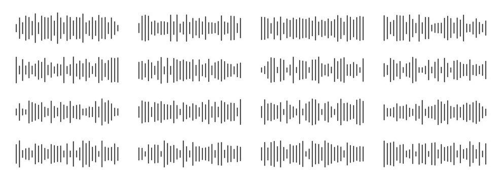 Creative vector illustration of audio, sound wave, soundwave line, waveform isolated on background. Art design sound spectrum, equalizer template. Abstract concept voice, music vibration element