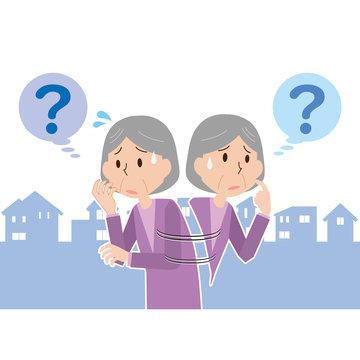 高齢 女性 シニア おばあさん 迷う 徘徊 認知症