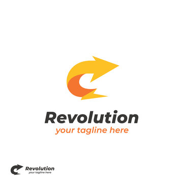 Revolution yellow lightning bolt with curved right arrow logo icon simple symbol