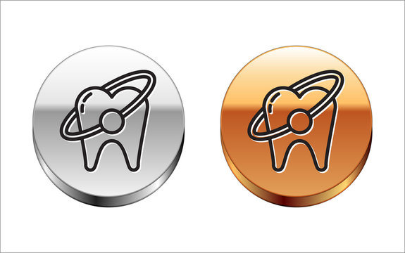 Black line Tooth whitening concept icon isolated on white background. Tooth symbol for dentistry clinic or dentist medical center. Silver-gold circle button. Vector Illustration