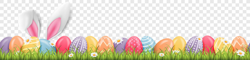 Easter bunny ears with easter eggs on meadow with flowers background banner transparent Fototapete