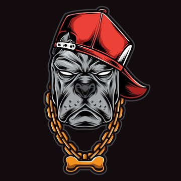 gangster pitbull head vector logo