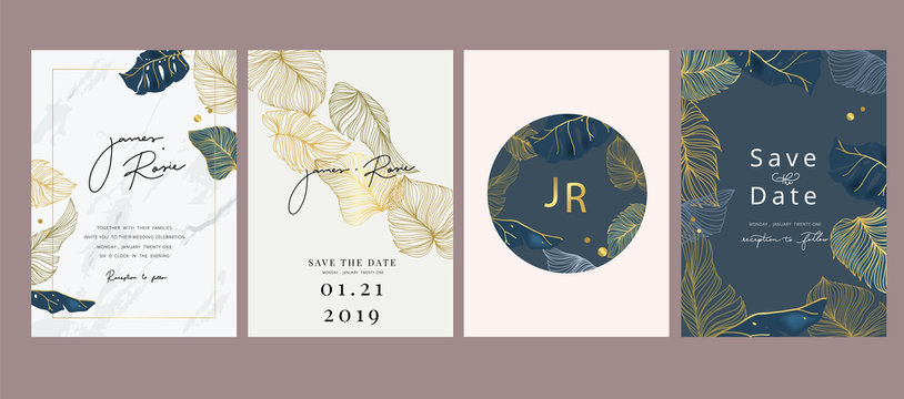 Wedding luxury set Invitation, floral invite thank you, rsvp modern card Design in gold flower with  leaf greenery  branches decorative Vector elegant rustic template