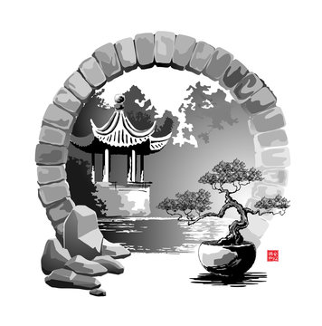 Moon Gate. Entrance to the garden with a pagoda. Vector illustration in traditional oriental style. Hieroglyphs - Harmony, Peace of mind.