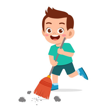 happy cute little kid boy sweeping floor