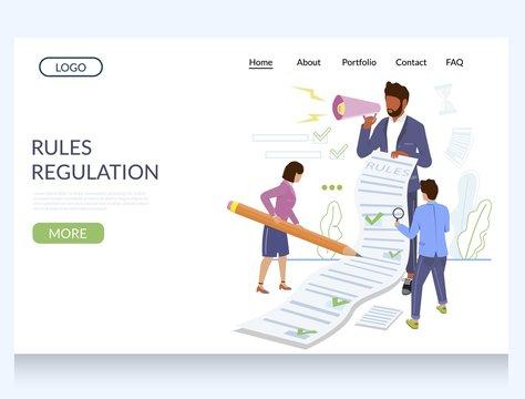 Rules regulation vector website landing page design template