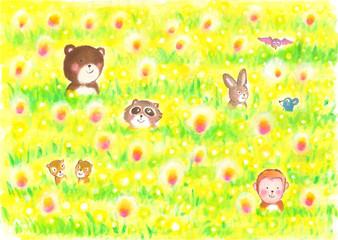 秋のお花畑で遊ぶ、森の動物たち