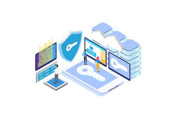Modern Isometric Data Protection Illustration, Web Banners, Suitable for Diagrams, Infographics, Book Illustration, Game Asset, And Other Graphic Related Assets