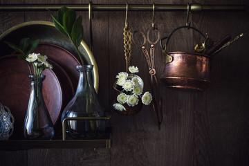 old vintage dishware on dark wooden background