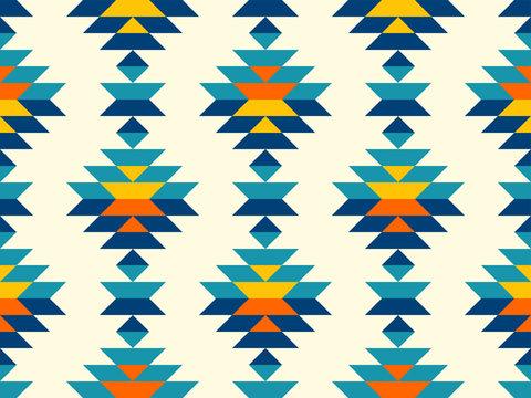 Boho aztec vertical diamonds rows colorful pattern