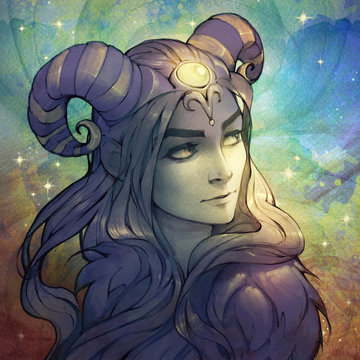 Digital original illustration of a zodiac character, Aries, as a fantasy style portrait of a beautiful woman  wearing decorated horns