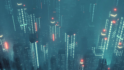 Wall Mural - 3D Rendering of digital city at night with various color led glowing lights. Concept of big data, machine learning, business artificial intelligence, night life, virtual reality, panorama view