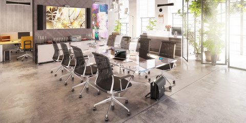 Contemporary Meeting Area Design - panoramic 3d visualization