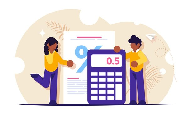 Mortgage calculator concept. Girl and the guy calculate the interest on the loan when buying a new house or apartment. Bank has a low interest rate. Vector isolated illustration.