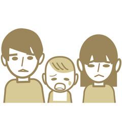 悲しそうな家族