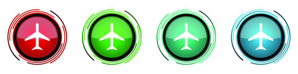 Fotomurales - Plane round glossy vector icons, flight, airplane set of buttons for webdesign, internet and mobile phone applications in four colors options isolated on white background